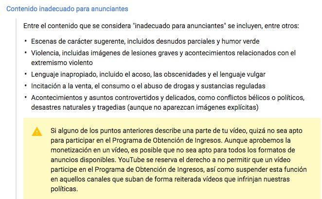 youtube-youtuber-censura-Directrices-de-contenido adecuado-para-anunciantes