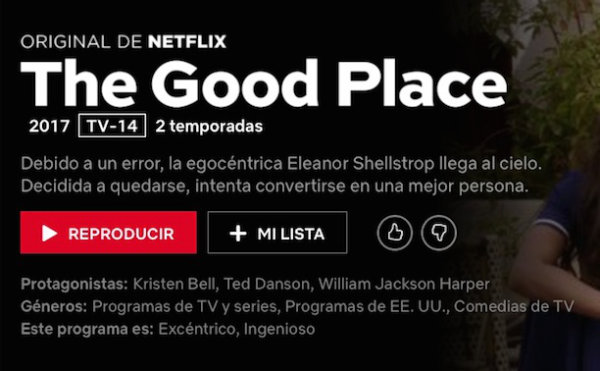 el lugar bueno series de Netflix divertidas