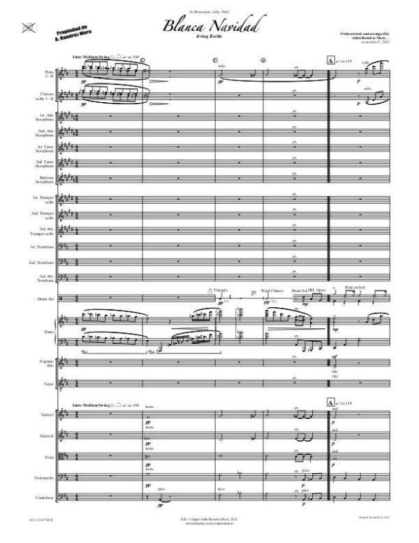 Blanca Navidad para Coro y Orquesta estilo Big Band Jazz