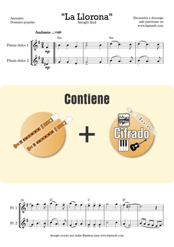 la llorona flauta dulce flauta de pico recorder acordes piano guitarra ukulele