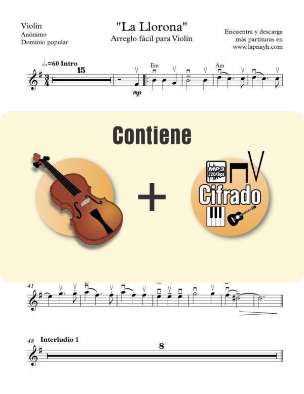 la llorona para violin con pista de piano y cifrado de acordes para guitarra ukulele